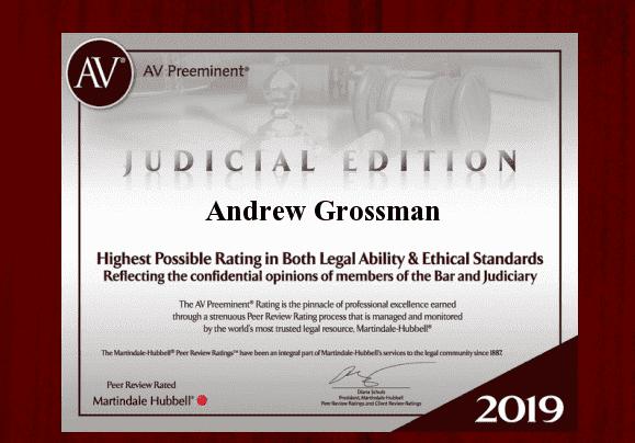 Andrew Grossman Earns Special Edition Judicial Award, AV